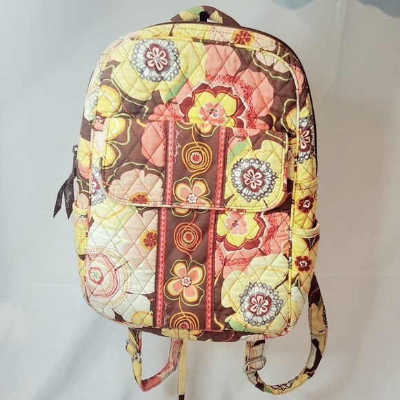 VERA BRADLEY Small Brown and Yellow Backpack